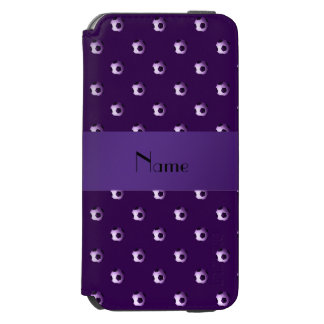 Personalized name purple soccer balls iPhone 6/6s wallet case