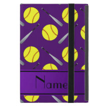 Personalized name purple softball pattern case for iPad mini