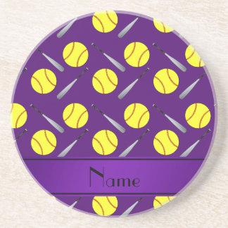 Personalized name purple softball pattern beverage coasters