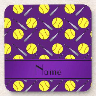 Personalized name purple softball pattern coaster