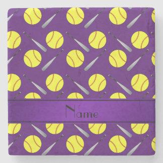 Personalized name purple softball pattern stone coaster