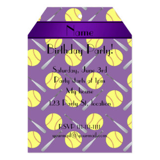 Personalized name purple softball pattern 5x7 paper invitation card