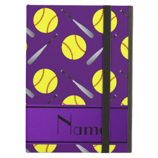 Personalized name purple softball pattern iPad air cover
