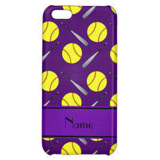 Personalized name purple softball pattern iPhone 5C case
