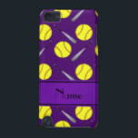 "Personalized name purple softball pattern iPod touch (5th generation) case<br><div class=""desc"">Modern and trendy Custom name sports baseball pattern with neon yellow softballs and aluminum bats on a purple background and with purple stripe personalized with just add your name gifts or monogram gifts or your initials for a unique gift. Sports gift ideas for men and boys and girls.</div>"