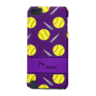 Personalized name purple softball pattern iPod touch (5th generation) case