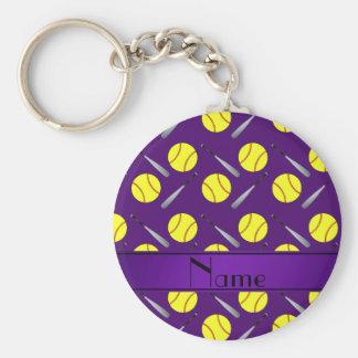 Personalized name purple softball pattern basic round button keychain