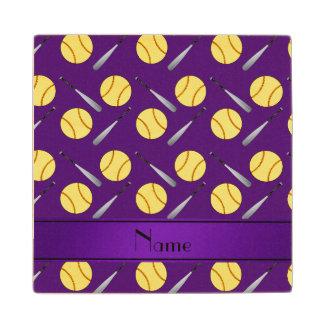 Personalized name purple softball pattern maple wood coaster