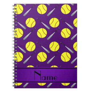 Personalized name purple softball pattern note books