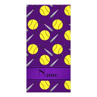 Personalized name purple softball pattern photo card