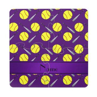 Personalized name purple softball pattern puzzle coaster