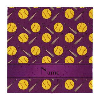 Personalized name purple softball pattern drink coasters
