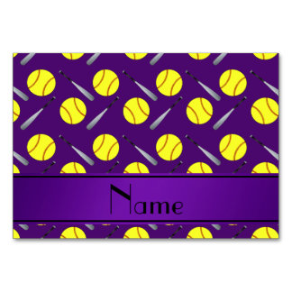 Personalized name purple softball pattern table card