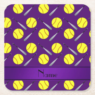 Personalized name purple softball pattern square paper coaster