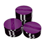 Personalized name purple square circles set of poker chips
