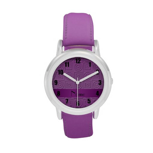Personalized name purple square circles wrist watches
