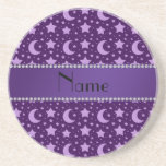 Personalized name purple stars and moons beverage coasters