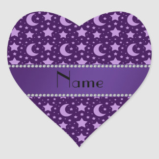 Personalized name purple stars and moons heart sticker