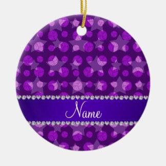 Personalized name purple stars volleyballs ceramic ornament