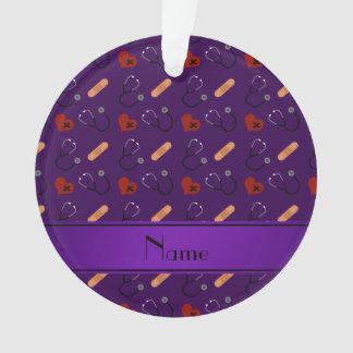Personalized name purple stethoscope bandage heart