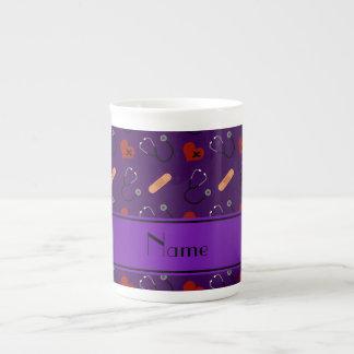 Personalized name purple stethoscope bandage heart bone china mug