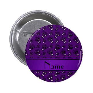 Personalized name purple sugar skulls 2 inch round button