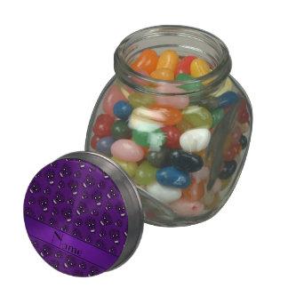 Personalized name purple sugar skulls glass candy jar