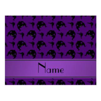 Personalized name purple sumo wrestling postcard