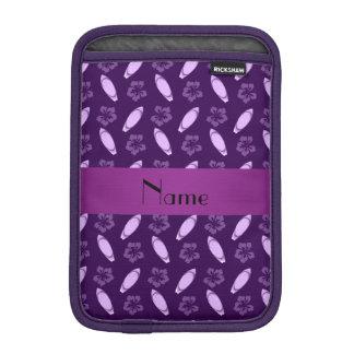 Personalized name purple surfboard pattern iPad mini sleeves