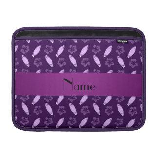 Personalized name purple surfboard pattern MacBook air sleeve