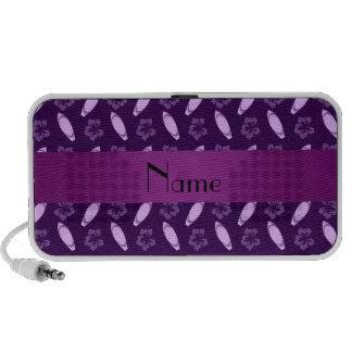 Personalized name purple surfboard pattern travel speakers