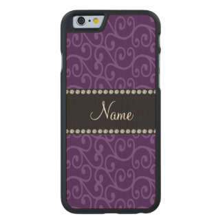 Personalized name purple swirls carved® maple iPhone 6 slim case