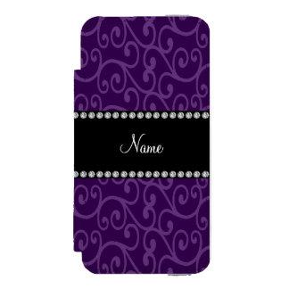 Personalized name purple swirls incipio watson™ iPhone 5 wallet case