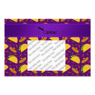 Personalized name purple tacos sombreros chilis photo print