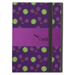 Personalized name purple tennis balls iPad air case