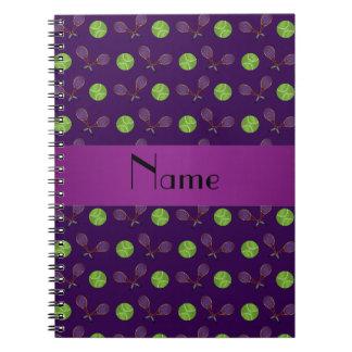 Personalized name purple tennis balls note books