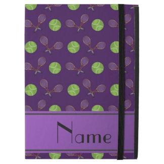 "Personalized name purple tennis balls rackets iPad pro 12.9"" case"