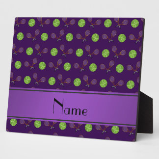 Personalized name purple tennis balls rackets photo plaques