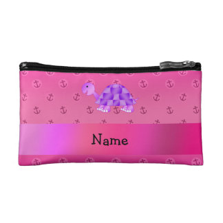 Personalized name purple turtle pink anchor cosmetics bags