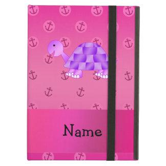 Personalized name purple turtle pink anchor iPad folio case