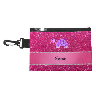 Personalized name purple turtle pink glitter accessory bags