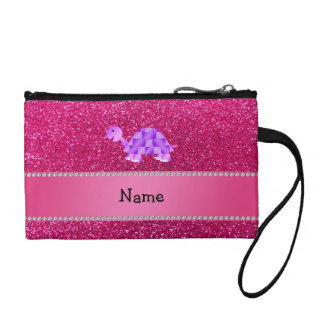 Personalized name purple turtle pink glitter coin wallet