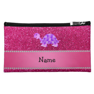 Personalized name purple turtle pink glitter makeup bags
