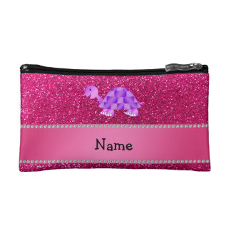 Personalized name purple turtle pink glitter cosmetic bag