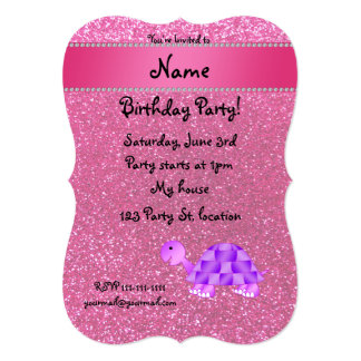 Personalized name purple turtle pink glitter card