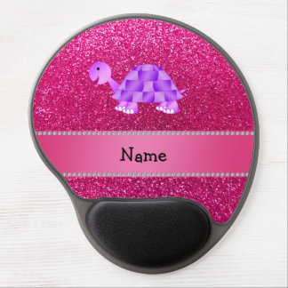 Personalized name purple turtle pink glitter gel mouse pads