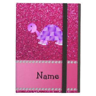 Personalized name purple turtle pink glitter iPad folio cases