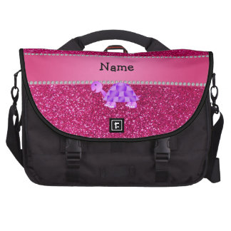 Personalized name purple turtle pink glitter computer bag