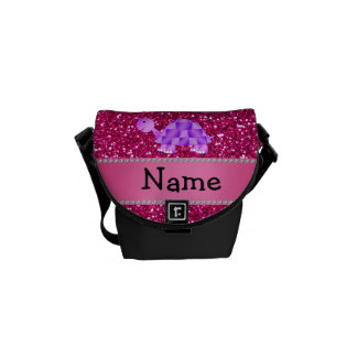 Personalized name purple turtle pink glitter courier bags
