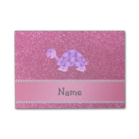 Personalized name purple turtle pink glitter note